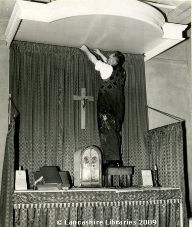 Father Heaton making a new Altar in 1958